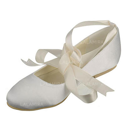 Women's Closed Toe Flats Flat Heel Silk Like Satin With Bowknot Wedding Shoes (047204688)