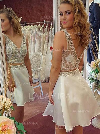 Magnifique Mousseline Forme Princesse Col V Robes de cocktail (016217692)