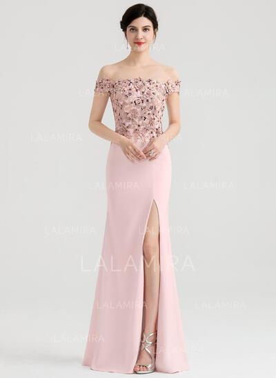 Sheath/Column Off-the-Shoulder Floor-Length Stretch Crepe Evening Dress With Split Front (017153620)