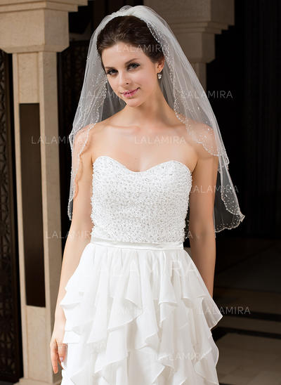 Elbow Bridal Veils Tulle Two-tier Classic With Beaded Edge Wedding Veils (006151185)
