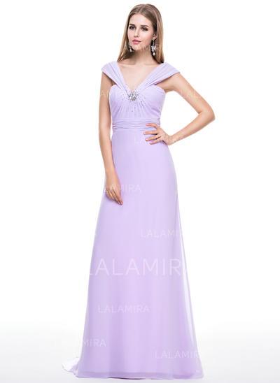 Luxurious Chiffon Trumpet/Mermaid Zipper Up Evening Dresses (017056628)