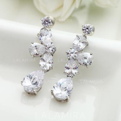 Earrings Copper/Zircon/Platinum Plated Pierced Ladies' Exquisite Wedding & Party Jewelry (011166681)