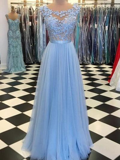 A-Line/Princess Scoop Neck Floor-Length Prom Dresses With Appliques (018219390)