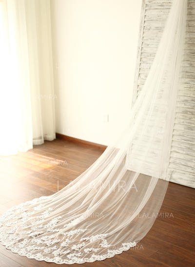 Cathedral Bridal Veils Tulle One-tier Drop Veil With Lace Applique Edge Wedding Veils (006151878)