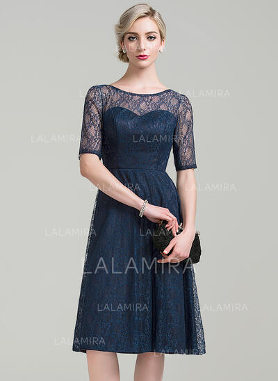 A-Line Scoop Neck Knee-Length Lace Mother of the Bride Dress (008085308)