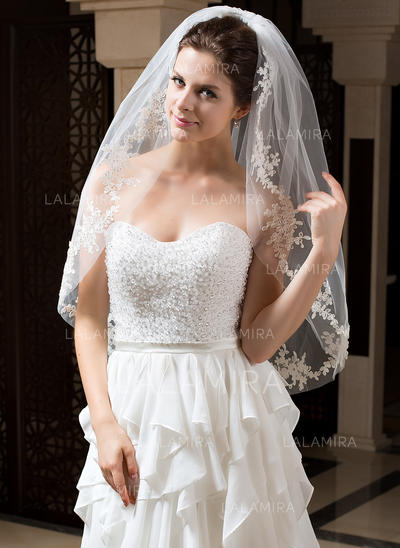 Fingertip Bridal Veils Tulle One-tier Oval With Cut Edge Wedding Veils (006151424)
