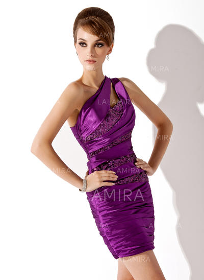Stunning Sheath/Column General Plus Charmeuse Sequined Cocktail Dresses (016021204)