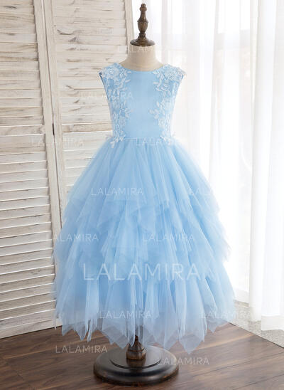 A-Line/Princess Tea-length Flower Girl Dress - Satin/Tulle Sleeveless Scoop Neck With Lace (010148820)