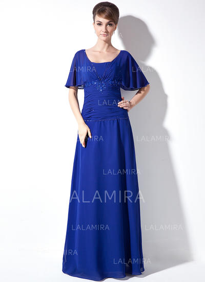 Ruffle Lace Beading Sequins Square Neckline Elegant Chiffon Mother of the Bride Dresses (008003502)