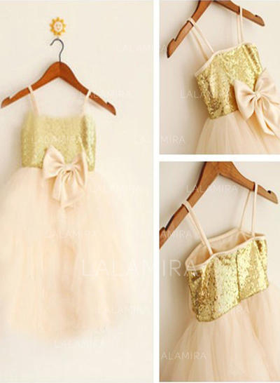 Straps A-Line/Princess Flower Girl Dresses Tulle/Sequined Bow(s) Sleeveless Knee-length (010211906)