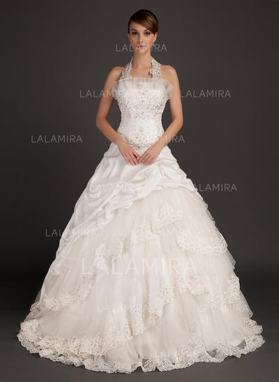 4d4d391c2a Halter Ball-Gown Wedding Dresses Taffeta Lace Beading Sleeveless Chapel  Train (002213297)
