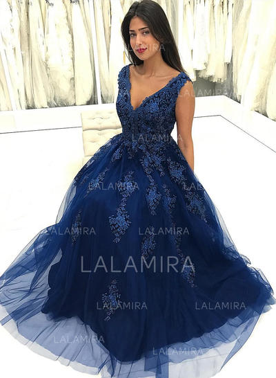 Decote V Beading Apliques de Renda Tule com Elegante Vestidos de festa (017217860)