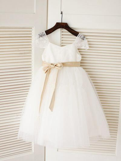 Square Neckline A-Line/Princess Flower Girl Dresses Tulle Sash Sleeveless Knee-length (010211921)