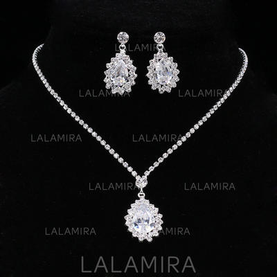 Sistemas de la joyería Aleación/Diamantes de imitación Rhinestone Corchete de la langosta Perforado Joyas de boda & fiesta (011119673)