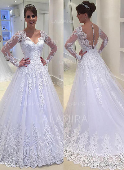 Ball-Gown Tulle Lace Long Sleeves V-neck Wedding Dresses (002144909)