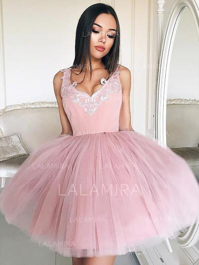 Pregueado Apliques de Renda Vestidos princesa/ Formato A Curto/Mini Tule Vestidos de boas vindas (022216349)