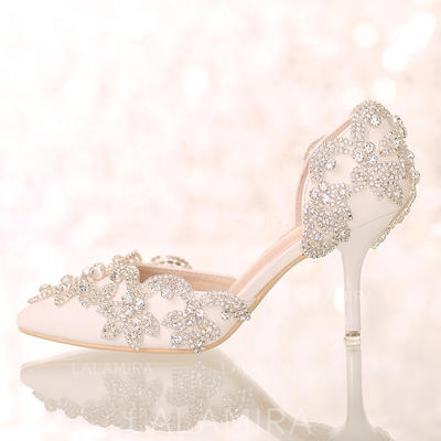 Women's Closed Toe Pumps Sandals Stiletto Heel Leatherette With Rhinestone Wedding Shoes (047206489)