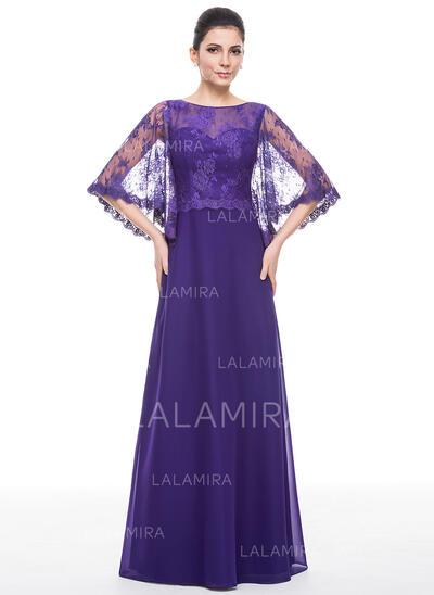 Vestidos princesa/ Formato A Decote redondo Longos Tecido de seda Renda Vestido para a mãe da noiva (008058404)