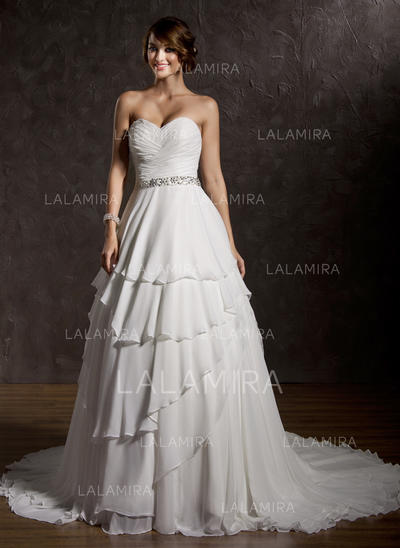 Chic Court Train Sweetheart Ball-Gown Chiffon Wedding Dresses (002196845)
