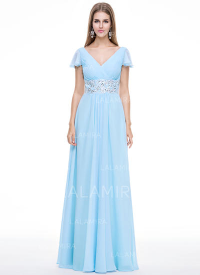 Chiffon Delicate Evening Dresses With V-neck (017056499)