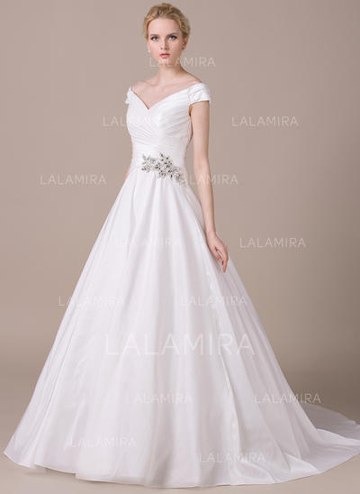 Beautiful Taffeta Wedding Dresses With Ball-Gown Off-The-Shoulder (002210608)