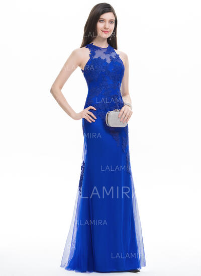 Trumpet/Mermaid Scoop Neck Floor-Length Tulle Prom Dresses (018118537)
