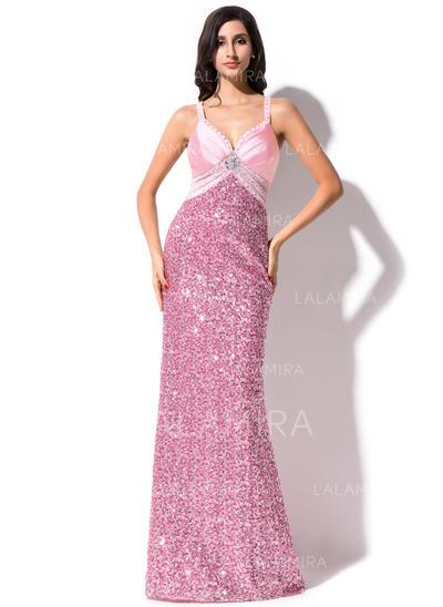 Moda Vestido tubo Con lentejuelas Barrer/Cepillo tren Sin mangas Vestidos de baile de promoción (018044969)