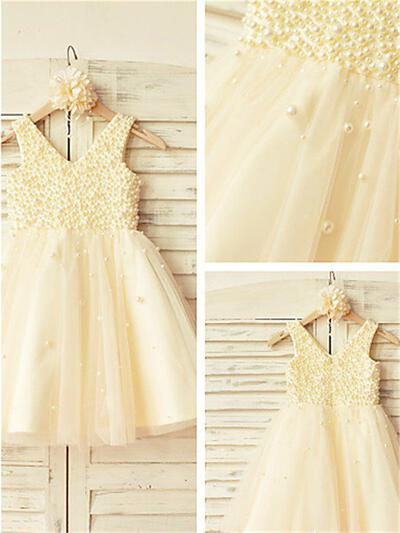V-neck A-Line/Princess Flower Girl Dresses Tulle Beading Sleeveless Knee-length (010211900)