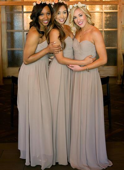 A-Line/Princess Floor-Length Sweetheart Sleeveless Chiffon Bridesmaid Dresses (007212235)