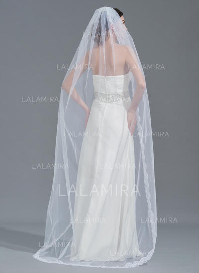 Chapel Bridal Veils Tulle One-tier Oval With Lace Applique Edge Wedding Veils (006152210)
