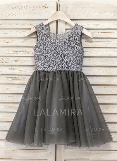 Corte A/Princesa Hasta la rodilla Vestidos de Niña Florista - Tul/Encaje Sin mangas Escote redondo (010090972)