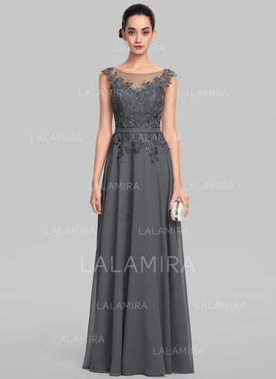 A-Line/Princess Scoop Neck Floor-Length Chiffon Evening Dress With Beading Sequins (017137363)