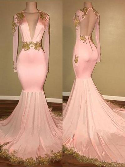 Trumpet/Mermaid Satin Prom Dresses Appliques Lace V-neck Long Sleeves Sweep Train (018210920)