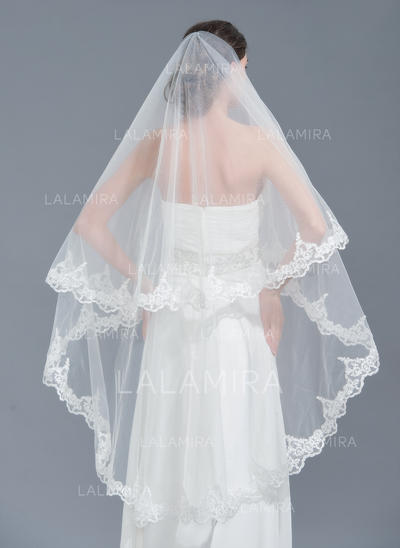 Chapel Bridal Veils Tulle One-tier Oval With Lace Applique Edge Wedding Veils (006152137)