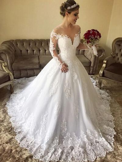 Bardot De baile Vestidos de noiva Tule Renda Mangas Compridas Sweep/Brush trem (002218064)
