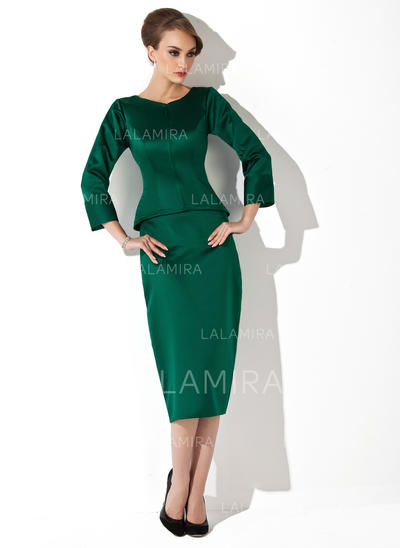 Sheath/Column Satin 3/4 Sleeves Scoop Neck Tea-Length Zipper Up at Side Mother of the Bride Dresses (008211030)