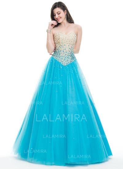 Tulle Beading Sequins Strapless Sleeveless Prom Dresses (018107800)