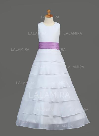 Scoop Neck A-Line/Princess Flower Girl Dresses Chiffon/Charmeuse Ruffles/Sash/Flower(s) Sleeveless Floor-length (010212050)