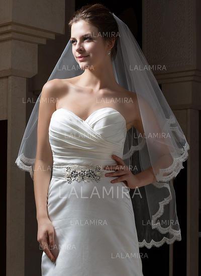 Yema del dedo velos de novia Tul Dos capas Estilo clásico con Con Aplicación de encaje Velos de novia (006034111)