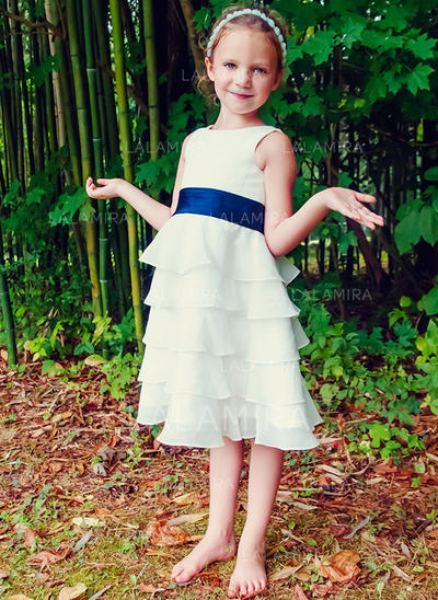 Vestidos princesa/ Formato A Comprimento médio Vestidos de Menina das Flores - Tecido de seda Sem magas Decote redondo com Pregueado/Cintos (010089504)