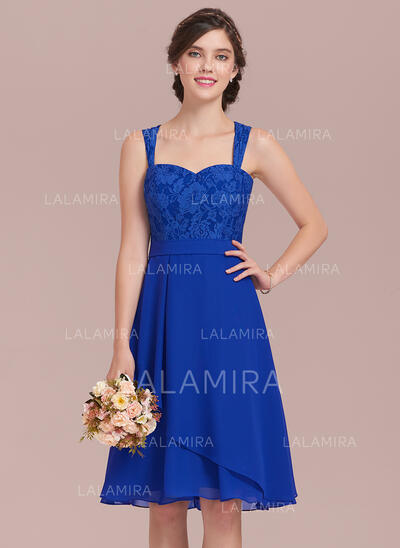 A-Line/Princess Sweetheart Knee-Length Chiffon Lace Bridesmaid Dress With Cascading Ruffles (007126446)