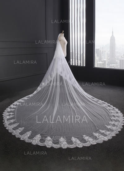 Cathedral Bridal Veils Tulle/Lace Two-tier Oval With Lace Applique Edge Wedding Veils (006152324)