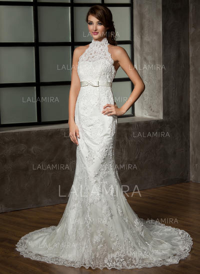 Bow S Sleeveless Halter Tulle Lace Trumpet Mermaid Wedding Dresses 002210410