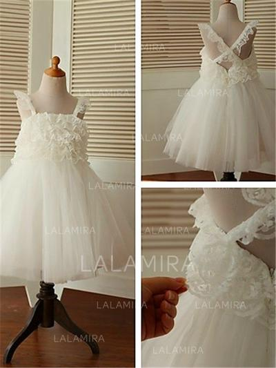 Square Neckline A-Line/Princess Flower Girl Dresses Tulle Ruffles Sleeveless Tea-length (010211979)