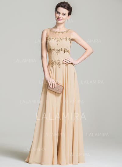 A-Line/Princess Chiffon Sleeveless Scoop Neck Floor-Length Zipper Up Mother of the Bride Dresses (008080783)