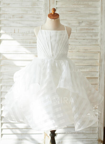 A-Line Knee-length Flower Girl Dress - Organza/Tulle Sleeveless Straps With Pleated (010192400)