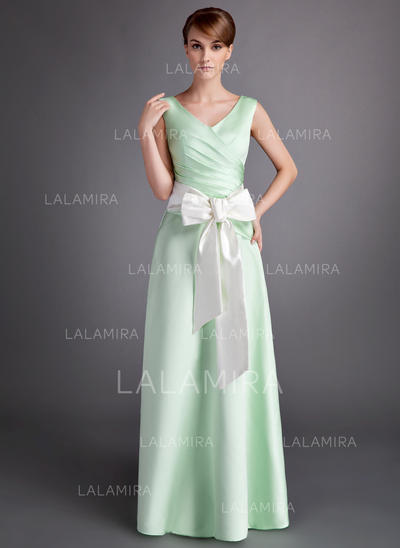 A-Line/Princess Floor-Length Satin Floor-Length Bridesmaid Dresses (007001060)