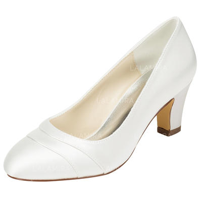 Women's Closed Toe Chunky Heel Satin With Others Wedding Shoes (047206639)