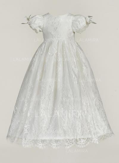 Tulle Col rond Dentelle À ruban(s) Robes de baptême bébé fille avec Manches courtes (2001217386)