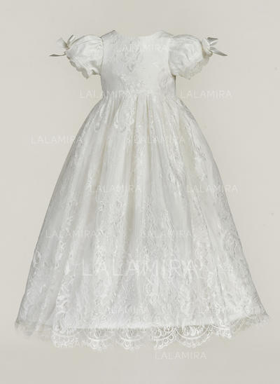 Tul Escote redondo Encaje Lazo(s) Vestidos de bautizo para bebés con Manga corta (2001217386)